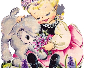 Girl Lamb Easter Flowers Blonde Vintage Greeting Card Digital Download Instant PNG Scrapbook Print Clip Art Decal Collage Large