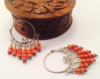 uzbek earring with coral stons,uzbek earring,Uzbekistan jewelry,vintage coral earring