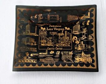 Vintage Las Vegas Glass Coin Tray