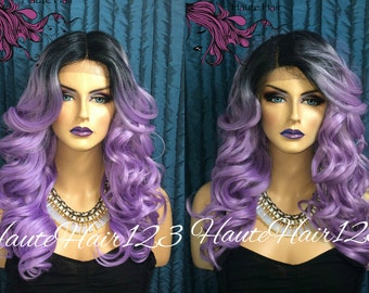 Purple Lavender Lilac Ombre Wig Lace Front Wig