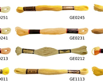 6 x 100% Cotton Embroidery Thread 8 Metre Skeins Yellows *12 Colours*