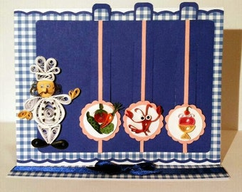 Slide quilling greeting card