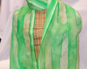 Hand painted pure silk scarf, Batik, abstract dash design, green with hints of orange/brown