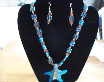 """20"""" necklace with lampwork star pendant and matching earrings set"""