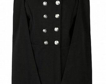 Black Side Sleeve Cape Coat