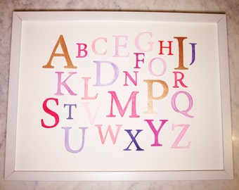 Watercolour Alphabet - kids wall decor