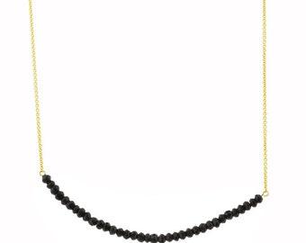 Onyx Beaded Bar Necklace