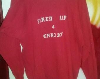 Christ red 70s vintage 60s biker punk sweatshirt sweater top jesus old school