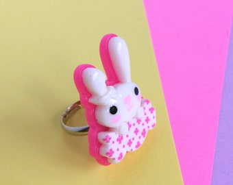 Super Cute Bunny Candy Adjustable Ring