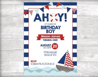 AHOY! Birthday Boy Invitation Printable