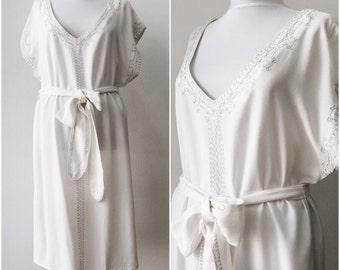 Vintage dress / Beach dress / Off-white dress / Size M
