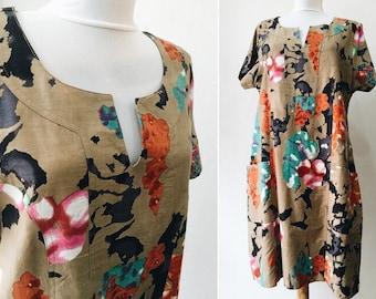 Flowers dress / Cotton and Linen dress / Vintage dress / size L