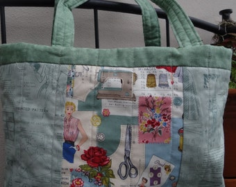 Vintage style fabric small tote