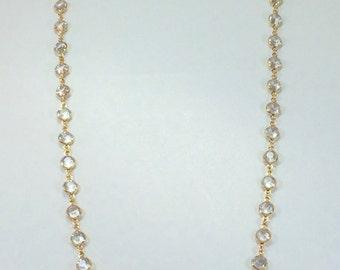 "Raindrops Necklace - Crystal Clear/Gold 36"" Swarovski crystal"