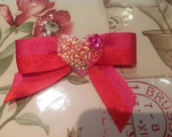 Beautiful Heart Bow Barrette