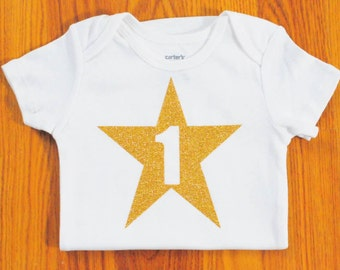 First Birthday Outfit, 1st Birthday Outfit, First Birthday Onesie, Girls Birthday Shirt, GOLD GLITTER shirt