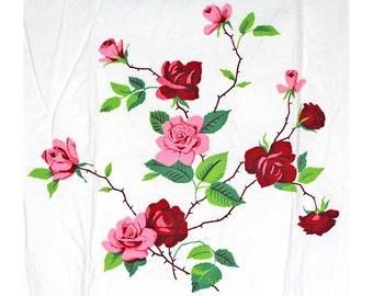 Vintage Wilendur Towel, Wilendur Princess Rose, Wilendure Towel, Vintage Dish Towel, Vintage Kitchen Towel, Red Rose, Pink Rose, Roses