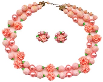 Vintage Pink Plastic Necklace and Earring Set, Made in Japan, Sugar Bead, Popcorn Bead, Textured, Pink Pearl, Grandma Necklace, 2 Strand