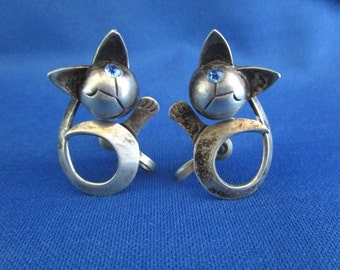 Vintage Mexican Silver and Rhinestone Siamese Kitten Earrings Screw Back *GR298