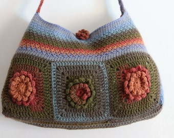 Handmade one of a kind Flower tote, Crochet handbag, large shoulder bag
