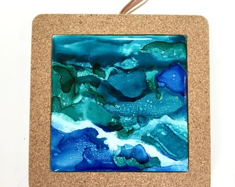 Trivet - Wall Tile - Decorative Tile - Drink Coasters - Beach - Alcohol Ink Hand painted Ceramic Tiles - Housewarming Gifts - Unique Gifts