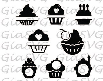 Split Cupcakes SVG, Monogram Cupcakes SVG, ready to cut files for Cricut / Silhouette etc, die cut cupcakes, also in DXF, png and eps