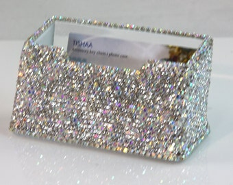 Beautiful Luxury Crystal Bling Bling Decorative Business Card Holder (White Crystal)