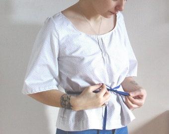 Cotton Princess Opal polka dot retro blouse
