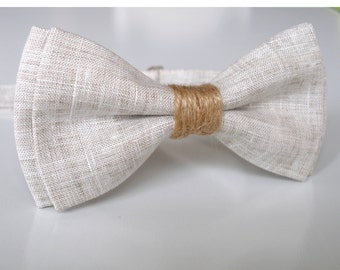 Mens Bowtie in Natural Linen, Linen Bow Tie, Beige Bow Tie, Groomsmen Bow Tie, Wedding Bowties, Rustic Bow Tie