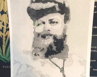 Watercolor Portrait of the Bearded Lady