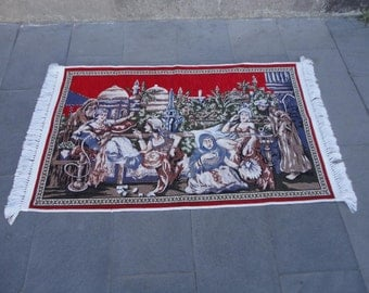 Wall rug,Turkish the harem illustrated wall hanging rug,ottoman empire design,made of special material ,49'' x 31'' inches,decorative rug !!