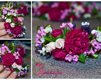 Flower bracelet clay Rose bracelet Clay peony bracelet Clay flower bracelet Polymer clay bracelet Clay flowers Purple peony Flower jewelry