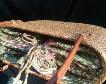 Vintage wicker basket purse handbag Rattan 28x10x19cm