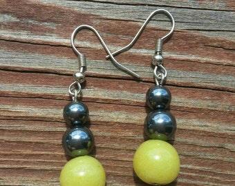 Hematite and Glass Bead Earrings