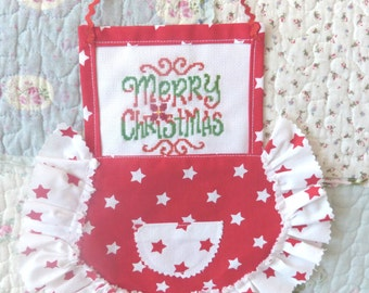 Embroidered apron, Kitchen wall decor, Red hanging decor, Christmas gift, Red white wall christmas decor