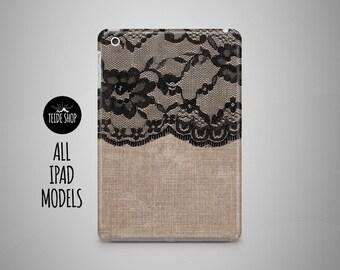 Black Lace iPad Case Lace Linen iPad Mini Case iPad Mini 3 4 Cover iPad Cover iPad Air 2 Case iPad Sleeve Birthday Gift Idea iPad 3 4 Case
