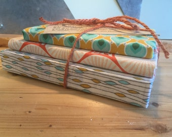 Fabric covered books for decor or junk journaling, set of three