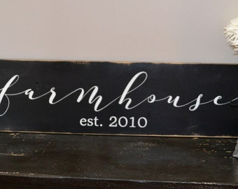 Farmhouse Sign - Modern Farmhouse Sign - Personalized Farmhouse Sign - Established Date - Rustic Farmhouse SIgn