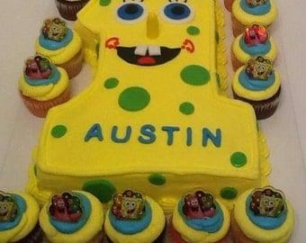 12  Sponge Bob & Patrick Inspired Balloons Cupcake Rings