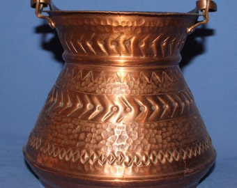 Vintage hand made folk ornate copper pot
