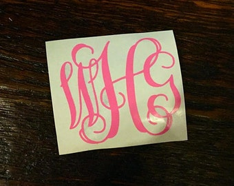 Scroll Monogram Decal, Yeti Decal, Monogram Decal, Monogram Sticker, Yeti Sticker
