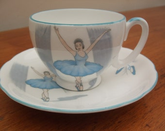 Gorgeous Royal Stafford 'Ballet' pattern bone china coffee cup and saucer - blue