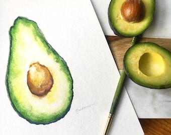 Avocado - Original Watercolor Painting
