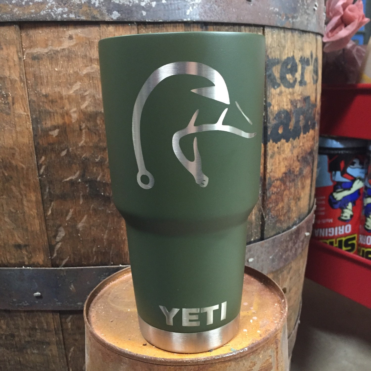 Powder Coated 20 Or 30oz Yeti Rambler Cup Matte Olive