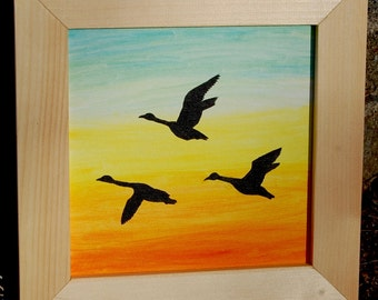 Flying Geese Silhouette Painting