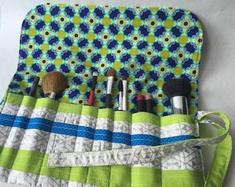Large Makeup Brush Roll - Travel Brush Roll