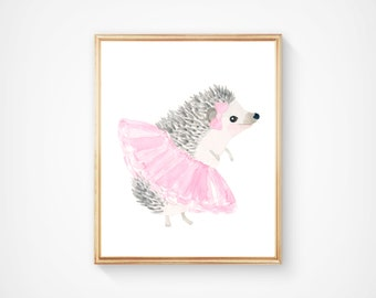 Watercolor hedgehog no 3 Print - Nursery Art - Pink and Gray - Nursery Decor - Kids Wall Art, hedgehog painting, pastel color nursery
