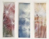 Set of 3 laminated photo bookmarks, dandelion mix