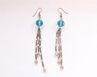 Sky with clouds - long earrings