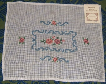 Adorable Peach Roses With Country Blue Trim Brick Cover, Pre-Worked Needlepoint